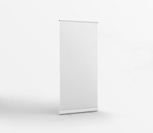 White Plain Roll Up Stand Banner On Isolated Background