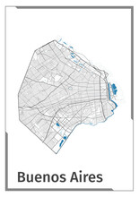 Buenos Aires Map Poster, Administrative Area Plan View. Black, White And Blue Detailed Design.