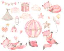 Watercolor Hand Painted Newborn Girl Set  With Cute Sleeping Fox, Pin, Flags, Gift, Balloons, Hearts, Stars, Clouds. Design For Baby Shower, Textile, Print, Nursery Decor, Children Decoration