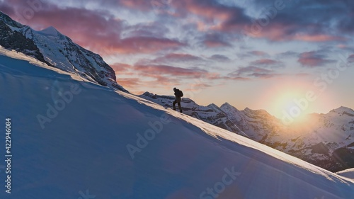Fotografie, Obraz Mountain Expedition Mountaineering Trekking Everest Epic Aerial Of Successful Cl