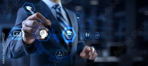 Fototapeta Online education internet learning e-learning concept on digital interface obraz