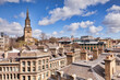 A view over the roof tops to All Saints Church, Newcastle-upon-Tyne, Tyne and Wear, England, UK