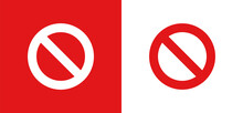 Red Ban Banned Stop Or Restriction Sign Icon Vector Illustration.