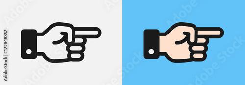 Tela Pointing hand, forefinger, index finger Vector icon illustration.