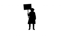 Silhouette Man Wearing A Guy Fawkes Mask Holding A Blank Board.