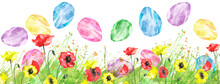 Watercolor Illustration. Background With Vintage Floral Pattern - Green Grass, Wild Plants Of Green Color. Flower Poppy. Watercolor Card, Postcard, Invitation.  Easter Egg.Easter Design Element, Logo