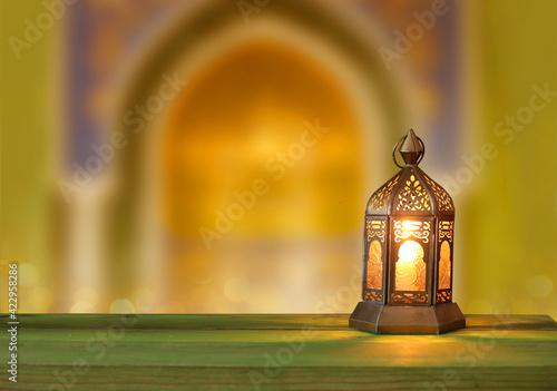Cuadros en Lienzo Islamic greeting  Eid Mubarak card for Muslim Holidays