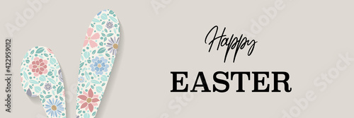 Colourful Easter bunny with greetings. Panoramic header. Vector