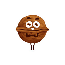 Walnut In Shell, Whole Fruit With Kernel Isolated Happy Emoticon Flat Cartoon Character. Vector Brown Nut, Vegetarian Snack, Superfood Comic Hero With Crossed Arms. Walnut Edible Seed Of Drupe
