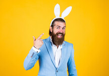 Happy Easter Handsome Caucasian Businessman With Trendy Hairstyle In Jacket, Bunny Ears