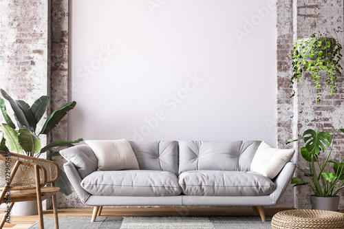 Fototapeta Living room design in loft apartment, white sofa on empty wall mockup, 3d render obraz