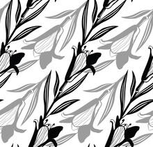 Black Simple Lily Pattern. Seamless Black White Flower Pattern. Vector Illustration