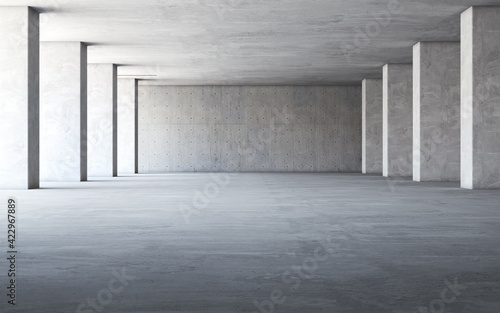 Abstract empty, modern concrete interior. 3d rendering