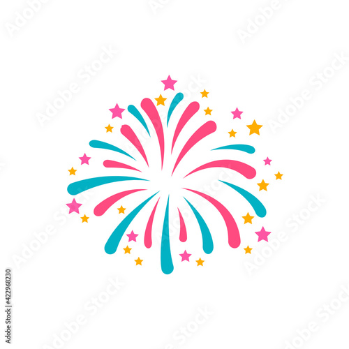 Fototapeta Simple style blue and red firework