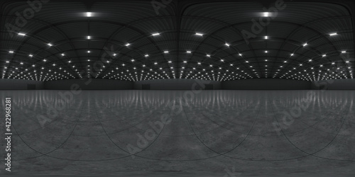 Canvas Print Full spherical hdri panorama 360 degrees of empty exhibition space