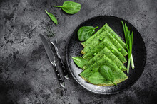Spinach Green Pancakes Crepes With Spinach And Vegetables. Vegetarian Food, Banner, Menu Recipe Place For Text, Top View