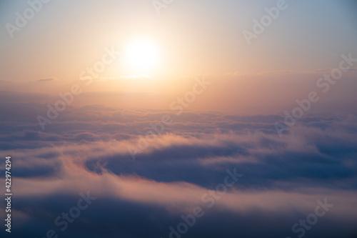 秋の名寄市瑞穂パーキングから見た雲海 Fototapete