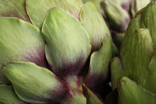 Fresh Raw Artichokes As Background, Closeup View