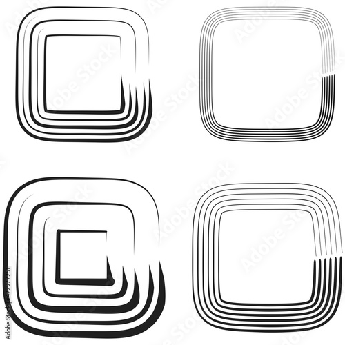 Abstract squares graphics. Vector squares element set Wall mural