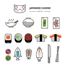 Vector Set Of Icons For Japanese Sushi Restaurant. Rolls, Wakame, Miso, Noodles, Sushi, Seaweed, Seafood, Shrimp, Squid, Ginger, Wasabi, Japanese Chopsticks, Knife