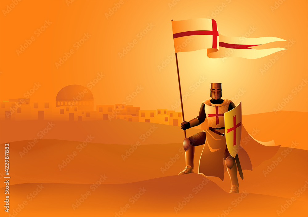 Fototapeta Knight of Templar with flag and shield