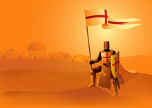 Knight Of Templar With Flag And Shield
