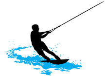 Wakeboarder Surfs On Water Wave / Blue-black Silhouette