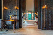 Luxurious Interior Of A Very Expensive Rich Water Villa In The Maldives, Decorated With Natural Wood.