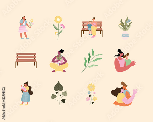 six moms scenes Wallpaper Mural