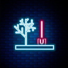 Glowing Neon Line Planting A Tree In The Ground Icon Isolated On Brick Wall Background. Gardening, Agriculture, Caring For Environment. Colorful Outline Concept. Vector