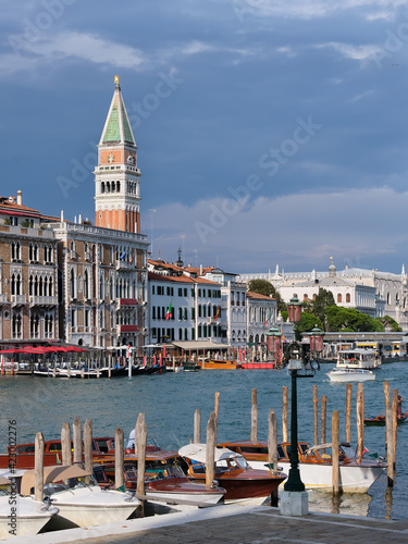 Fotografie, Obraz Taxi boats on calm water of Grand Canal im Venice