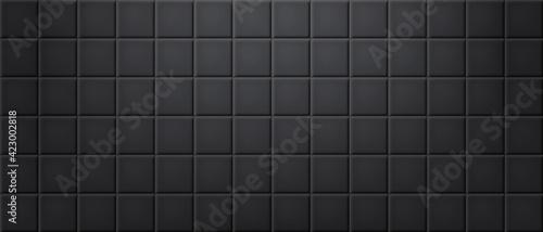 Fototapeta Black ceramic tiles wall texture abstract background vector obraz