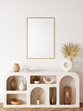Frame & Poster Mockup In Boho Style Interior. 3d Rendering, 3d Illustration