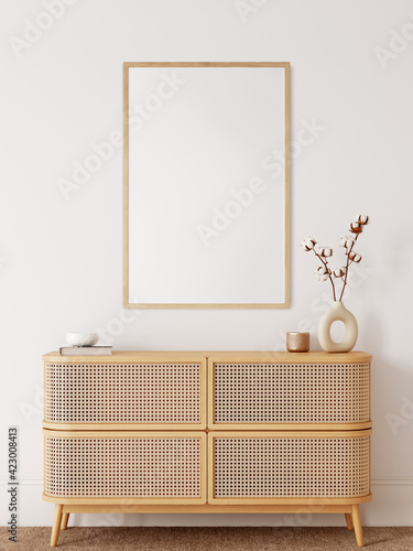 Obraz Frame & poster mockup in Boho style interior. 3d rendering, 3d illustration - fototapety do salonu