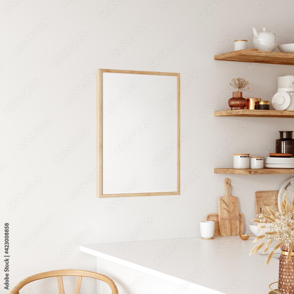 Fototapeta Frame & Poster mockup in kitchen interior.  Boho style.  3d rendering, 3d illustration - obraz na płótnie