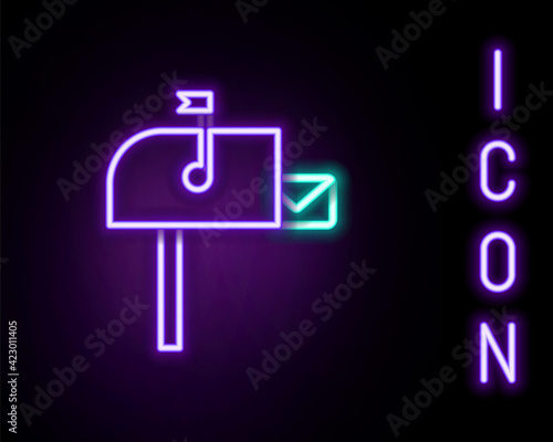 Glowing neon line Open mail box icon isolated on black background Wallpaper Mural
