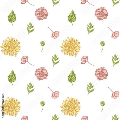 Seamless pattern with hand drawn pastel poppy flower, gerbera, sunflower, milkwe Fotobehang
