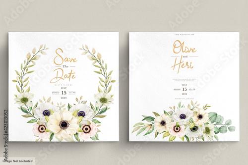 Slika na platnu Watercolor Poppy anemone floral invitation card