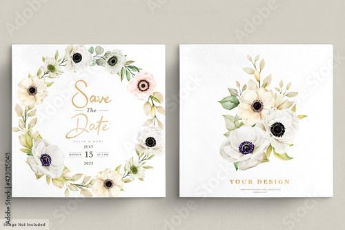 Canvas Print Watercolor Poppy anemone floral invitation card