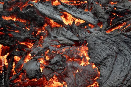 Foto Flowing  lava close up