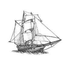 Sailing Ship, Graphic Hand Drawing. Sea Or River Transport, An Isolated Object. Vector
