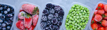 Frozen Berries In Boxes Top View On Gray Background Banner Panoramic