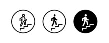 Stairs Going Up, Stairs, Climbing, Walking, Go Up Icons Button, Vector, Sign, Symbol, Logo, Illustration, Editable Stroke, Flat Design Style Isolated On White