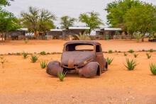 Car Wreck In The Namib Naukluft National Park At Betta, Namibia