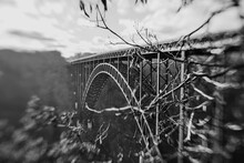 Black And White Photo Of The New River Gorge Bridge In West Virginia