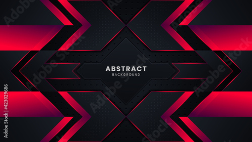 Fototapeta Modern black and red abstract geometric shapes background design template, gaming background template design obraz