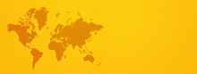 World Map On Yellow Wall Background. Horizontal Banner