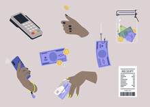 A Financial Sticker Pack, A Collection Of Flat Vector Images, Cash And Cashless Money Transactions, A Paper Receipt And A Pos Terminal
