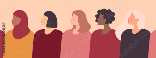 Female diverse faces of different ethnicity. Vector banner with women of different nationalities and cultures. Women's struggle for freedom, independence.