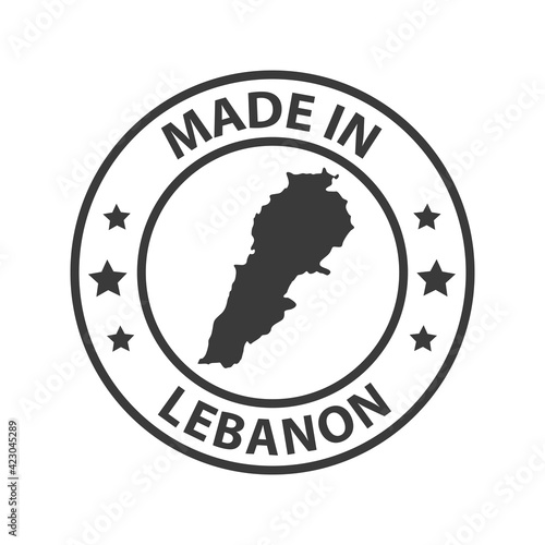 Canvas Print Made in Lebanon icon. Stamp made in with country map